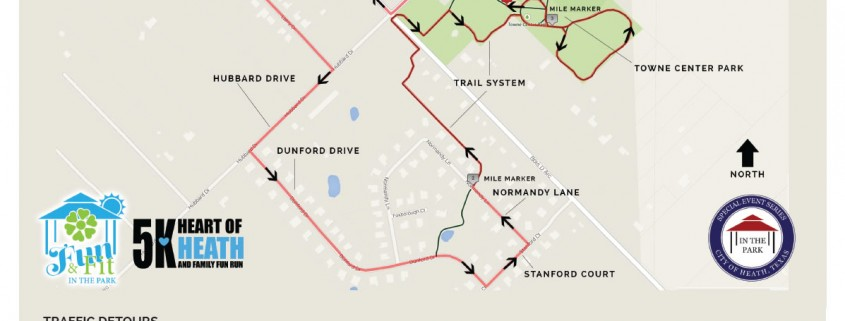Heart of Heath 5k Route Map 2015